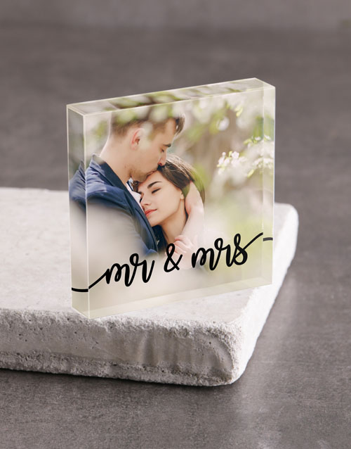 valentines-day: Personalised Mr And Mrs Acrylic Block!