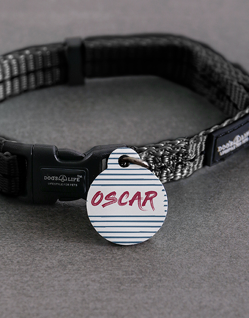 pets: Personalised Stripe ID Tag and S Collar!