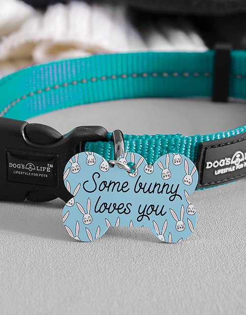 easter: Personalised Bunny Loves Bone ID Tag and Collar!