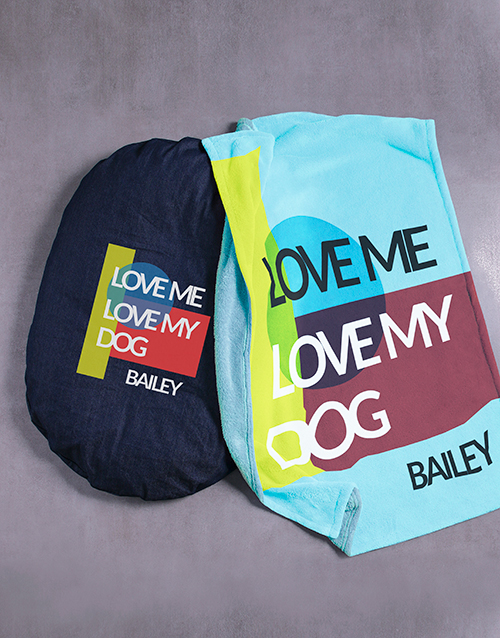 personalised: Personalised Love My Dog Bed and Blanket!
