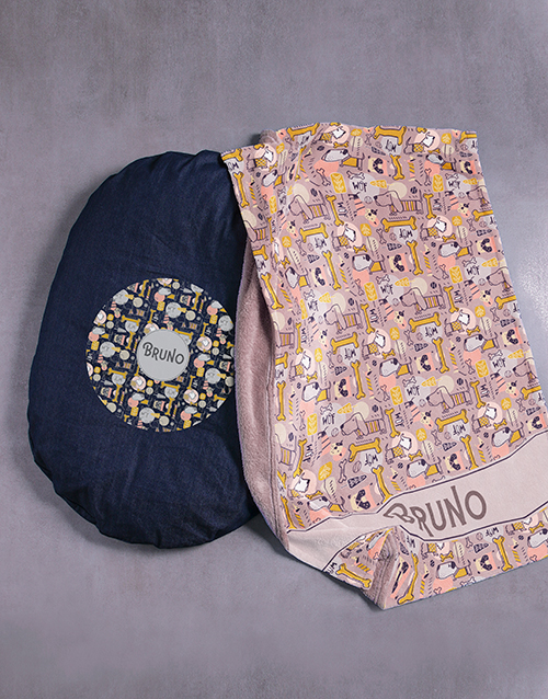 personalised: Personalised Dog Treat Bed and Blanket!