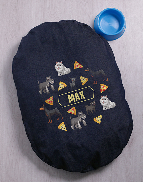 personalised: Personalised Pizza Pups Dog Bed And Bowl!
