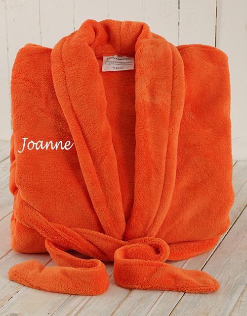bath-and-body: Personalised Orange Fleece Gown!