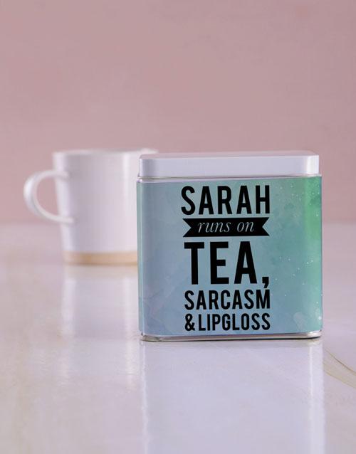 personalised: Personalised Runs on White Tea Tin!
