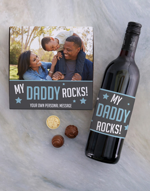 personalised: Personalised Dad Rocks Choc and Wine Combo!