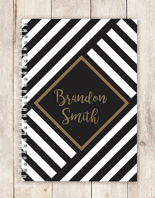 cyber-monday: Personalised Geometric Stripe Notebook!
