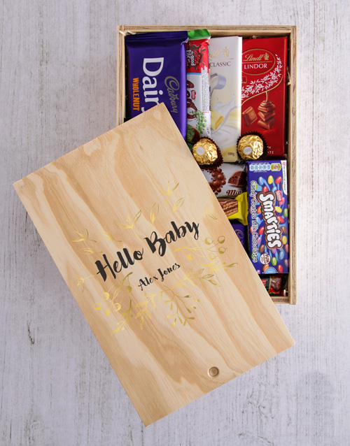 baby: Personalised Hello Baby Chocolate Crate!