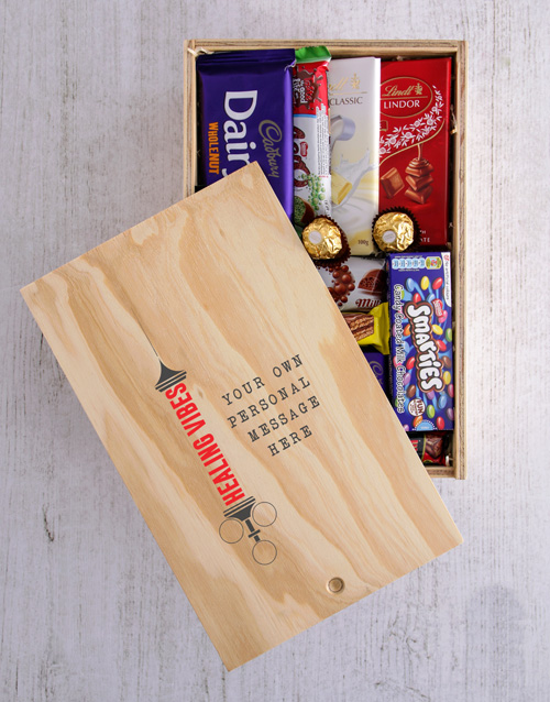 get-well: Personalised Healing Vibes Printed Chocolate Crate!