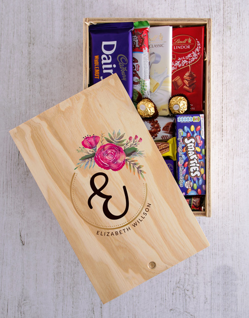 womens-day: Personalised Floral Initial Chocolate Crate!