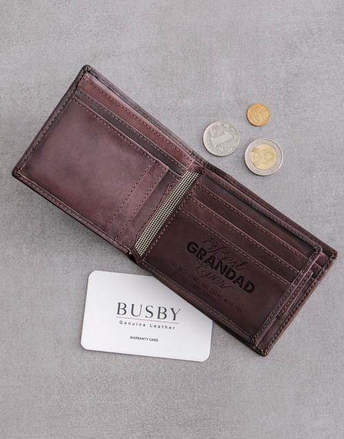 personalised: Personalised Grandad Busby Brown Bilfold Wallet!
