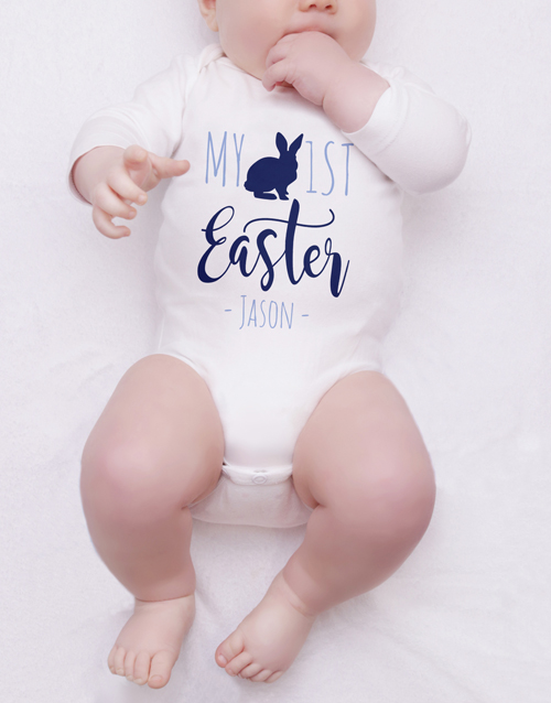 baby: Personalised First Easter Boy Onesie!