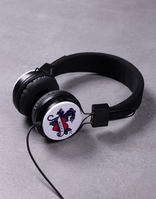 valentines-day: Personalised Love Panther Headphones!