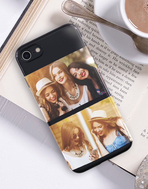 personalised: Personalised Double Photo Black iPhone Cover!
