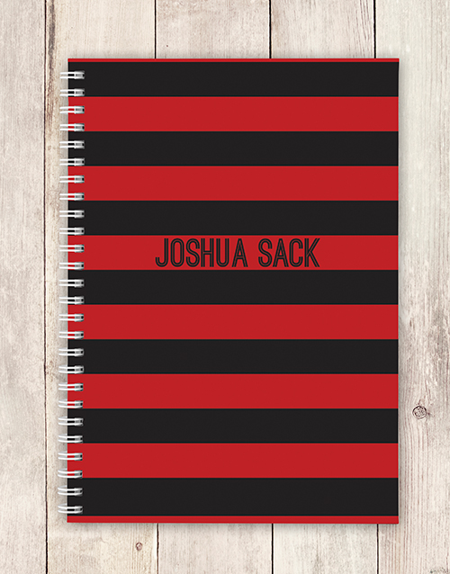 personalised: Personalised Red and Black Striped Notebook!