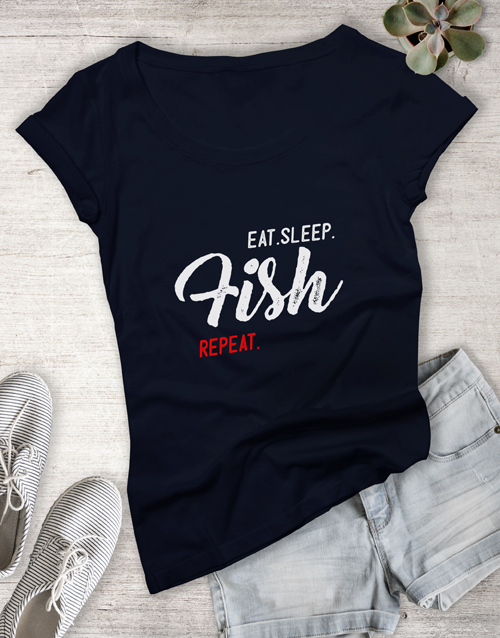 clothing: Personalised Eat Sleep Repeat Ladies T Shirt!