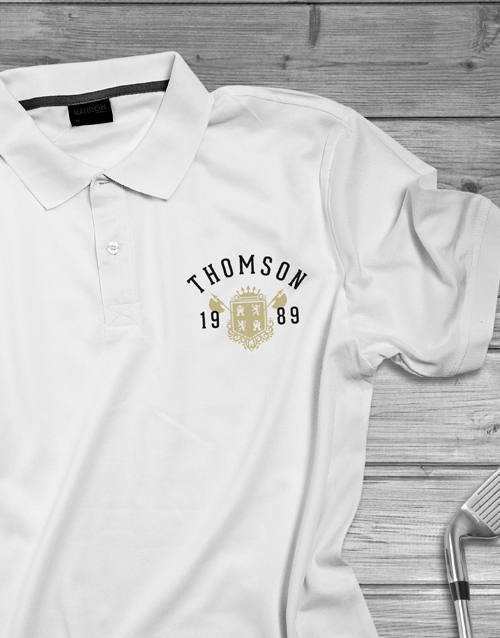 fathers-day: Personalised Year Badge Polo Shirt!