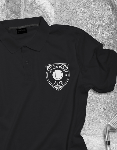 clothing: Personalised Tennis Badge Printed Polo Shirt !