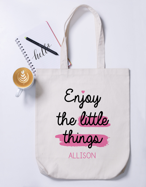 mothers-day: Personalised Enjoy The Little Things Tote Bag!