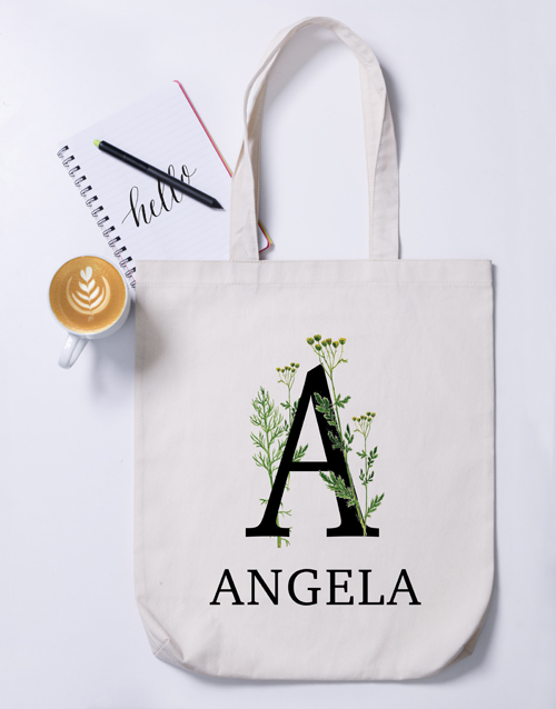 mothers-day: Personalised Floral Initial Tote Bag!