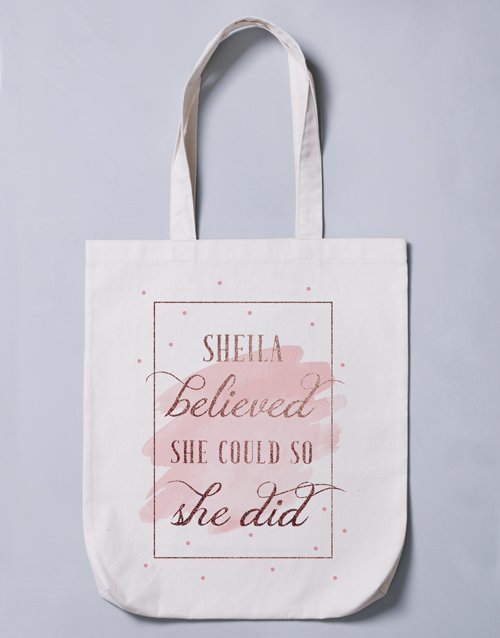 mothers-day: Personalised She Believed Tote Bag!