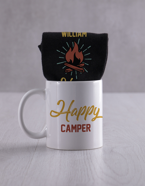 fathers-day: Personalised Happy Camper Socks And Mug!