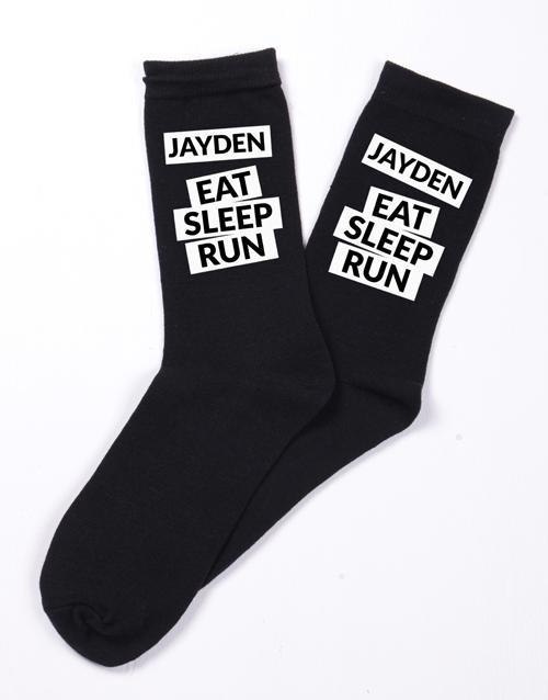 valentines-day: Personalised Eat Sleep Run Socks!