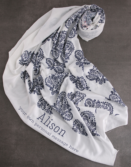 gifts: Personalised Blue Paisley Scarf Gift!