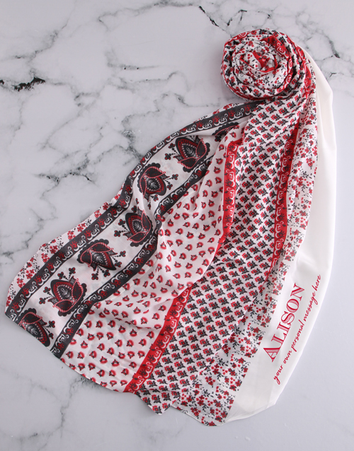 bath-and-body: Personalised Red Multi Patterned Scarf Gift!