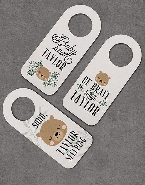 baby: Pack of 3 Personalised Bear Door Hangers!