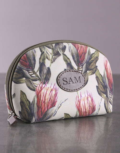 mothers-day: Personalised Protea Cosmetic Bag!