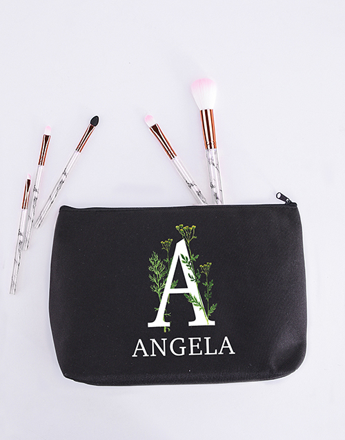 bath-and-body: Personalised Floral Initial Cosmetic Bag!