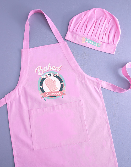 personalised: Personalised Baked With Love Kids Apron!