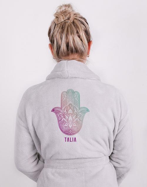 personalised: Personalised Hamsa Grey Fleece Gown!