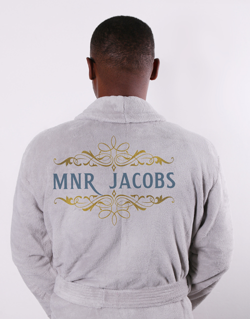 bath-and-body: Personalised Mnr Grey Fleece Gown!