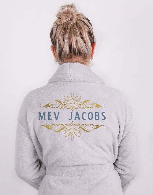 bath-and-body: Personalised Mev Grey Fleece Gown!