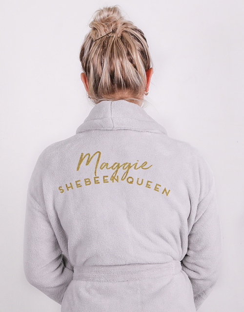 bath-and-body: Personalised Shebeen Queen Grey Gown!