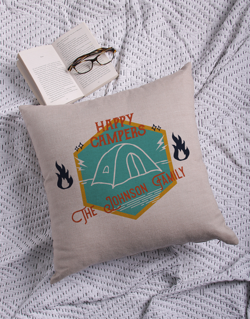 christmas: Personalised Happy Campers Scatter Cushion!
