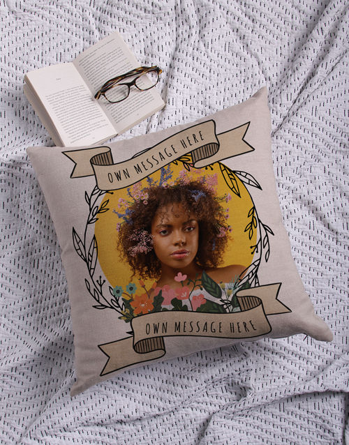 anniversary: Personalised Photo Wreath Scatter Cushion!