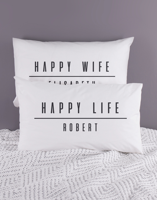 anniversary: Personalised Happy Life Pillowcase Set!