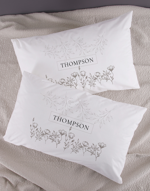 anniversary: Personalised Scetch Floral Pillowcase Set!
