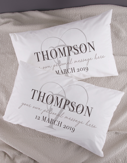 anniversary: Personalised Classic Initial Pillowcase Set!