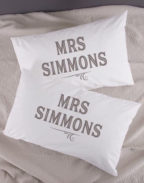 anniversary: Personalised Retro Mr & Mrs Pillowcase Set!