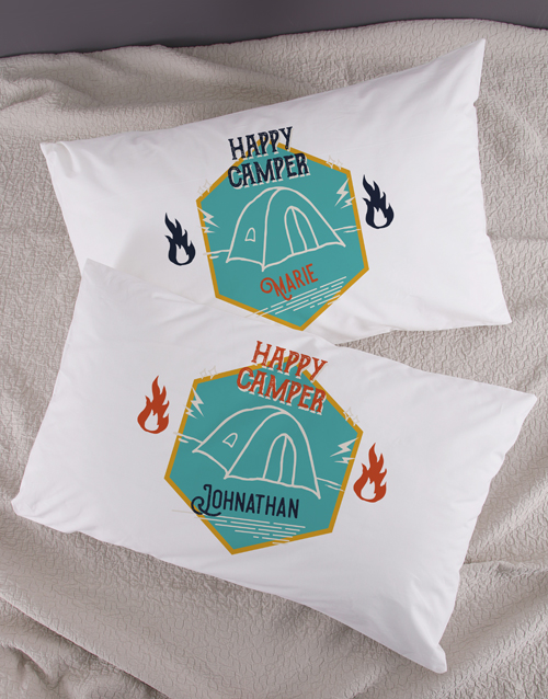 anniversary: Personalised Happy Campers Pillowcase Set!