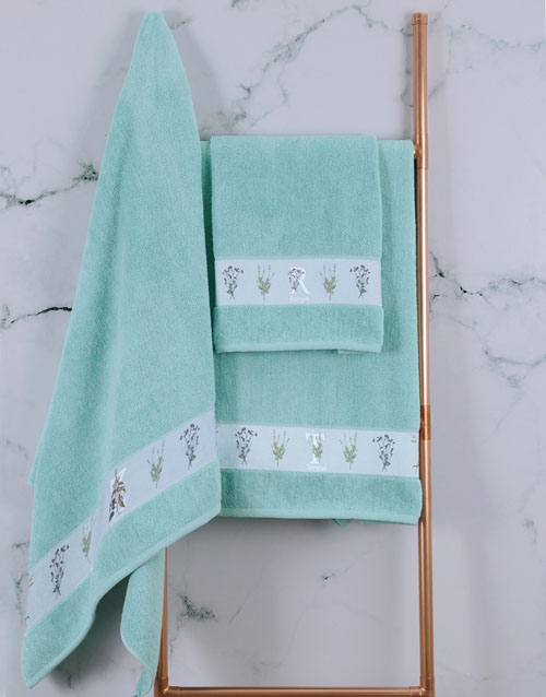 mothers-day: Personalised Green Leaves Duck Egg Towel Set!