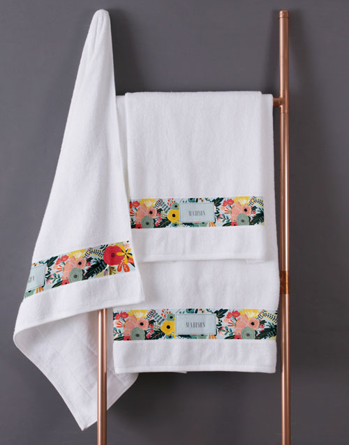 mothers-day: Personalised Bright Floral White Towel Set!