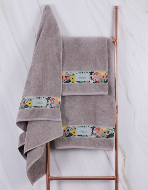 towels: Personalised Bright Floral Stone Towel Set!