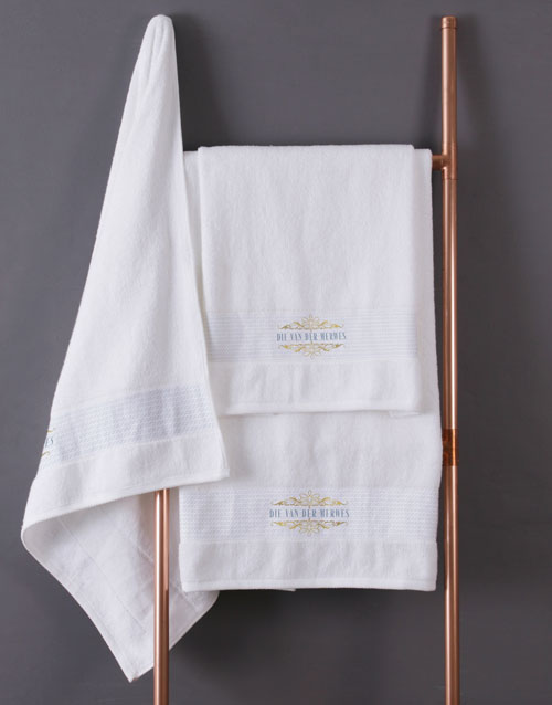 mothers-day: Personalised Mnr & Mev White Towel Set!