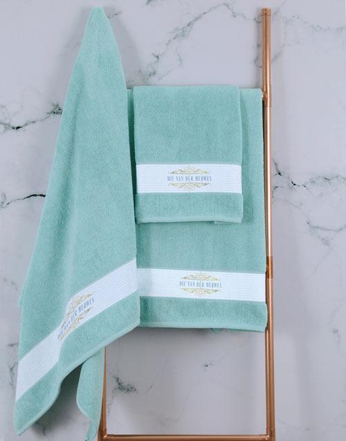 towels: Personalised Mnr & Mev Duck Egg Towel Set!