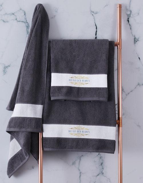 towels: Personalised Mnr & Mev Charcoal Towel Set!
