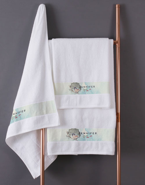 towels: Personalised Watercolour White Towel Set!